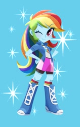Size: 758x1200 | Tagged: safe, artist:binco_293, character:rainbow dash, species:eqg human, g4, one eye closed, solo, sparkles, wink