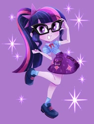 Size: 912x1200 | Tagged: safe, artist:binco_293, character:twilight sparkle, character:twilight sparkle (scitwi), species:eqg human, g4, glasses, leg in air, ponytail, solo, sparkles