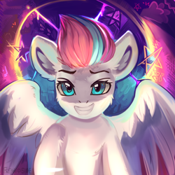 Size: 2000x2000   Tagged: safe, artist:freak-side, character:zipp storm, species:pegasus, species:pony, g5, cheek fluff, ear fluff, female, high res, leg fluff, mare, smiling, solo, spread wings, wings