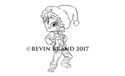 Size: 1280x785 | Tagged: safe, artist:bevin brand, character:timber spruce, species:eqg human, g4, my little pony:equestria girls, christmas, christmas sweater, clothing, hat, holiday, official fan art, santa hat, solo, sweater