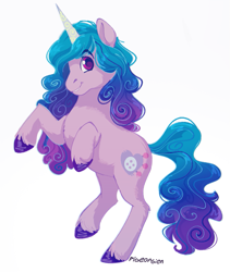 Size: 703x834 | Tagged: safe, artist:pigeorgien, character:izzy moonbow, species:pony, species:unicorn, g5, chest fluff, cutie mark, gradient mane, horn pattern, rearing, solo, unshorn fetlocks