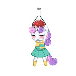 Size: 400x400 | Tagged: safe, artist:lumineko, character:sweetie belle, species:anthro, species:pony, species:unguligrade anthro, species:unicorn, armpits, clothing, crossover, cute, diasweetes, doki doki panic, dress, eyes closed, female, filly, nintendo, pleated skirt, simple background, skirt, socks, super mario bros., super mario bros. 2, transparent background, video game, young