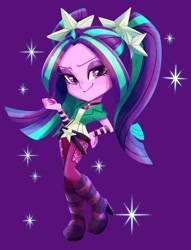 Size: 915x1200 | Tagged: safe, artist:binco_293, character:aria blaze, species:eqg human, g4, my little pony:equestria girls, pigtails, smug, solo, sparkles, twintails