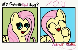 Size: 1703x1093 | Tagged: safe, artist:melodysketch, character:fluttershy, species:pegasus, species:pony, g4, ^w^, art challenge, comic, cute, eyes closed, fluttershy day, happy, looking at you, no shading, pointing at you, shyabetes, signature, simple background, smiling, solo, text, wholesome
