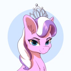 Size: 1200x1200 | Tagged: safe, artist:aquaticvibes, character:diamond tiara, species:earth pony, species:pony, g4, big ears, bust, chest fluff, ear fluff, jewelry, smug, solo, tiara