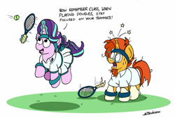 Size: 1024x691 | Tagged: safe, artist:bobthedalek, character:starlight glimmer, character:sunburst, species:pony, species:unicorn, ship:starburst, g4, and that's how luster dawn was made, clothing, eyes on the prize, female, horn, implied shipping, implied starburst, implied straight, jumping, male, mare, open mouth, shipping, shirt, skirt, sports, stallion, straight, sweat, sweatband, tennis, tennis ball, tennis racket, upskirt, we don't normally wear clothes