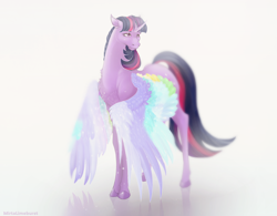 Size: 1600x1247 | Tagged: safe, artist:mirtalimeburst, character:twilight sparkle, character:twilight sparkle (alicorn), species:alicorn, species:pony, friendship is magic: rainbow roadtrip, g4, my little pony: friendship is magic, chest fluff, colored wings, curved horn, female, horn, mare, multicolored wings, simple background, solo, white background, wing bling, wings