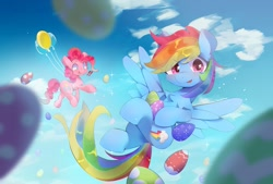 Size: 1200x811 | Tagged: safe, artist:lexiedraw, character:pinkie pie, character:rainbow dash, species:earth pony, species:pegasus, species:pony, g4, balloon, easter, easter egg, holiday