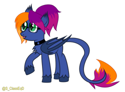 Size: 1541x1134 | Tagged: safe, artist:s-class-destroyer, oc, oc only, oc:layla horizon, species:bat pony, species:pony, accessories, collar, digital art, female, glasses, long tail, open mouth, raised hoof, solo, solo female, tail, vector