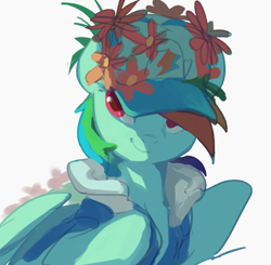 Size: 824x808 | Tagged: safe, artist:landypommel, character:rainbow dash, species:pegasus, species:pony, g4, clothing, flower, hat