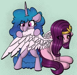 Size: 1200x1176 | Tagged: safe, artist:llametsul, character:izzy moonbow, character:pipp petals, species:pegasus, species:pony, species:unicorn, g5, circlet, eating, gradient mane, nom, pipp wings