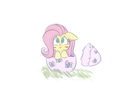 Size: 1200x900 | Tagged: safe, artist:heir-of-rick, character:fluttershy, species:pegasus, species:pony, g4, blushing, easter egg, eggshell, floppy ears, looking up, simple background, smiling, solo, white background