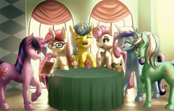 Size: 5000x3195 | Tagged: safe, artist:mykegreywolf, character:lemon hearts, character:lyra heartstrings, character:minuette, character:moondancer, character:twilight sparkle, character:twilight sparkle (unicorn), character:twinkleshine, species:pony, species:unicorn, episode:amending fences, g4, my little pony: friendship is magic, book, canterlot six, cupcake, cutie mark, eating, explicit source, eyes closed, female, females only, food, magic, mare, open mouth, reading, scene interpretation, table, tongue out