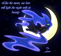 Size: 1122x1024 | Tagged: safe, artist:its-gloomy, character:nightmare moon, character:princess luna, species:alicorn, species:pony, blushing, hearts and hooves, holiday, moon, smiling, solo, tangible heavenly object, tumblr:ask queen moon, valentine, valentine's day