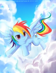 Size: 700x900 | Tagged: safe, artist:sunshineikimaru, character:rainbow dash, species:pegasus, species:pony, g4, cloud, cloudy, female, flying, happy, mare, signature, solo, spread wings, wings