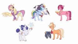 Size: 1280x720 | Tagged: safe, artist:28gooddays, character:applejack, character:fluttershy, character:pinkie pie, character:rainbow dash, character:rarity, species:earth pony, species:pegasus, species:pony, species:unicorn, g4, animal, clothing, cutie mark, eagle, food, glasses, goggles, hawk, headphones, headset, microphone, pie, sculpture, swapped cutie marks