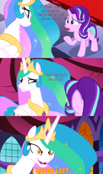 Size: 800x1350 | Tagged: safe, artist:roseluck, edit, edited screencap, editor:roseluck, screencap, character:daybreaker, character:princess celestia, character:starlight glimmer, species:alicorn, species:pony, species:unicorn, episode:a royal problem, g4, my little pony: friendship is magic, 3 panel comic, bad end, canterlot castle, canterlot castle interior, close-up, comic, crown, dialogue, digital art, duo, duo female, evil grin, eyebrows down, fangs, female, gem, glowing eyes, horn, inkscape, jewelry, looking at each other, mare, necklace, open mouth, peytral, raised eyebrow, raised hoof, regalia, screencap comic, sharp teeth, show accurate, smiling, standing, vector, window, wings, worried