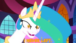 Size: 1920x1080 | Tagged: safe, artist:roseluck, editor:roseluck, character:daybreaker, character:princess celestia, species:alicorn, species:pony, episode:a royal problem, g4, my little pony: friendship is magic, canterlot castle, canterlot castle interior, close-up, crown, dialogue, digital art, evil grin, fangs, female, gem, glowing eyes, horn, inkscape, jewelry, mare, necklace, open mouth, peytral, regalia, sharp teeth, show accurate, smiling, solo, vector, wallpaper, window