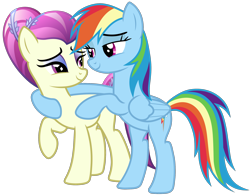 Size: 2300x1800 | Tagged: safe, artist:roseluck, character:fleur de verre, character:rainbow dash, species:crystal pony, species:pegasus, species:pony, ship:verredash, episode:the crystal empire, g4, my little pony: friendship is magic, bedroom eyes, bipedal, bipedal leaning, digital art, eye contact, female, high res, hoof around neck, inkscape, leaning, lesbian, looking at each other, mare, shipping, show accurate, simple background, smiling, standing, transparent background, vector