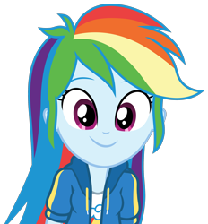 Size: 2160x2330 | Tagged: safe, artist:roseluck, character:rainbow dash, species:eqg human, episode:fluttershy's butterflies, g4, my little pony: equestria girls, my little pony:equestria girls, clothing, cute, cutie mark, cutie mark on clothes, dashabetes, digital art, female, fluttershy's butterflies: dj pon-3, happy, high res, inkscape, jacket, looking at you, missing accessory, shirt, simple background, smiling, smiling at you, solo, t-shirt, transparent background, vector