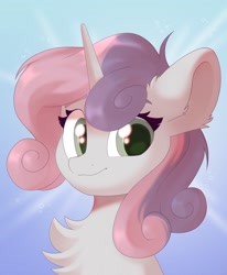 Size: 842x1024   Tagged: safe, artist:kebchach, character:sweetie belle, species:pony, species:unicorn, abstract background, chest fluff, cute, diasweetes, ear fluff, female, fluffy, looking at you, mare, older, older sweetie belle, smiling, solo, three quarter view