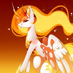 Size: 1080x1080 | Tagged: safe, artist:tessa_key_, character:daybreaker, character:princess celestia, species:alicorn, species:pony, clothing, curved horn, ear fluff, female, gradient background, hoof shoes, horn, jewelry, mare, necklace, peytral, shoes, smiling, solo, wings