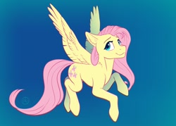 Size: 1200x857 | Tagged: safe, artist:klarapl, character:fluttershy, species:pegasus, species:pony, g4, ear fluff, female, flying, gradient background, high res, looking at you, mare, smiling, solo, spread wings, three quarter view, wings
