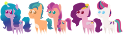 Size: 1600x453 | Tagged: safe, artist:sketchmcreations, character:hitch trailblazer, character:izzy moonbow, character:pipp petals, character:sunny starscout, character:zipp storm, species:earth pony, species:pegasus, species:pony, species:unicorn, g5, digital art, inkscape, izzy's tennis ball, mane g5, pipp wings, pointy ponies, simple background, tennis ball, transparent background, vector