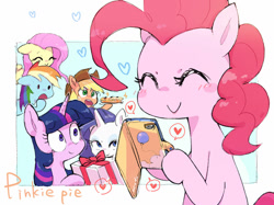 Size: 1280x959 | Tagged: safe, artist:nendo, character:applejack, character:fluttershy, character:pinkie pie, character:rainbow dash, character:rarity, character:twilight sparkle, species:earth pony, species:pegasus, species:pony, species:unicorn, g4, cellphone, cute, mane six, phone, smartphone