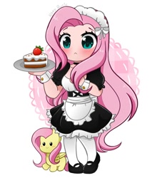 Size: 903x1024 | Tagged: safe, artist:kittyrosie, character:fluttershy, species:human, g4, cake, chibi, food, maid, solo