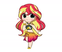 Size: 1970x1667 | Tagged: safe, artist:kittyrosie, character:sunset shimmer, species:human, g4, my little pony:equestria girls, bikini, bikini top, chibi, clothing, cute, digital art, female, hand on cheek, heart, humanized, shimmerbetes, simple background, sleeveless, smiling, solo, species swap, swimsuit, white background