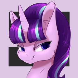 Size: 1200x1200 | Tagged: safe, artist:aquaticvibes, character:starlight glimmer, species:pony, species:unicorn, g4, bust, ear fluff, equality, evil starlight, smug