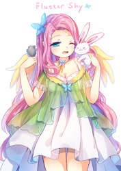 Size: 700x990 | Tagged: safe, artist:eminya, character:angel bunny, character:fluttershy, species:human, g4, anime, breasts, butterfly, cleavage, clothing, cute, dress, female, hair accessory, humanized, one eye closed, open mouth, pixiv, shyabetes, simple background, species swap, text, white background, winged humanization, wings
