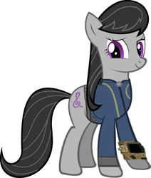 Size: 1280x1509 | Tagged: safe, artist:datbrass, artist:ponygamer2020, character:octavia melody, species:earth pony, species:pony, fallout equestria, clothing, crossover, cute, digital art, fallout, female, happy, jumpsuit, looking at you, mare, pipboy, simple background, solo, transparent background, vault suit, vector, video game