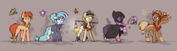 Size: 1933x557 | Tagged: safe, artist:rexyseven, oc, oc only, oc:drillie, oc:rusty gears, oc:whispy slippers, species:earth pony, species:pony, species:unicorn, bandage, cloak, clothing, concept art, cutie mark, female, glasses, glowing horn, goggles, gray background, horn, light, magic, mare, pickaxe, reference sheet, scarf, shoes, simple background, slippers, socks, sweater, trucker hat, two-headed