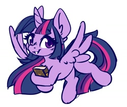 Size: 1200x1010 | Tagged: safe, artist:ruef, character:twilight sparkle, species:alicorn, species:pony, book, chest fluff, cute, ear fluff, hoof hold, looking at you, smiling, solo, spread wings, twiabetes, wings