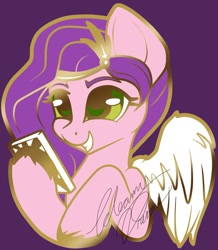 Size: 1046x1200 | Tagged: safe, artist:gleamyd, character:pipp petals, species:pegasus, g5, bust, cellphone, circlet, phone, pin, pin design, pipp wings, smartphone, solo, unshorn fetlocks