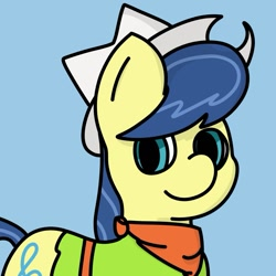 Size: 1083x1083 | Tagged: safe, artist:melodysketch, character:fiddlesticks, species:earth pony, species:pony, g4, apple family member, bandana, belt, blue background, cell shaded, clothing, cowboy hat, cute, cutie mark, female, hat, shirt, simple background, simple shading, solo
