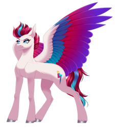Size: 2884x3204 | Tagged: safe, artist:ohhoneybee, character:zipp storm, species:pegasus, g5, big wings, colored wings, cutie mark, simple background, solo, spread wings, transparent background, wings