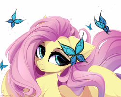 Size: 1280x1024 | Tagged: safe, artist:xsatanielx, character:fluttershy, species:pegasus, species:pony, g4, bust, butterfly, portrait, solo