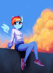 Size: 873x1200 | Tagged: safe, artist:mrscroup, character:rainbow dash, species:anthro, species:pegasus, species:plantigrade anthro, species:pony, :3, clothing, cloud, cute, dashabetes, female, floating wings, jacket, shoes, shorts, sitting, smiling, sneakers, solo, sweater, tracksuit, wings