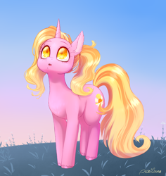 Size: 2514x2658 | Tagged: safe, artist:perilune, character:luster dawn, species:pony, species:unicorn, g4, cutie mark, female, grass, horn, looking up, mare, morning, sky, solo, tail