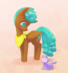 Size: 1893x2029 | Tagged: safe, artist:perilune, character:bloofy, character:spur, species:pegasus, species:pony, g4, cutie mark, female, filly, freckles, handkerchief, looking down, simple background, smiling, tail, whirling mungtooth, wings, young