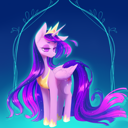 Size: 2893x2893 | Tagged: safe, artist:perilune, character:twilight sparkle, character:twilight sparkle (alicorn), species:alicorn, species:pony, g4, abstract background, clothing, crown, cutie mark, ethereal mane, female, hoof shoes, horn, jewelry, lidded eyes, mare, necklace, older, older twilight, peytral, princess twilight 2.0, regalia, shoes, solo, tail, wings