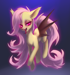 Size: 2589x2745 | Tagged: safe, artist:perilune, character:flutterbat, character:fluttershy, species:bat pony, species:pony, g4, bat wings, fangs, female, lidded eyes, mare, sharp teeth, simple background, solo, tail, tongue out, wings