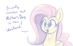 Size: 1100x700 | Tagged: safe, artist:heir-of-rick, character:fluttershy, species:pegasus, species:pony, g4, dialogue, female, holiday, mother's day, open mouth, public service announcement, simple background, sketch, solo, white background