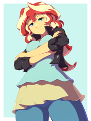 Size: 1200x1600   Tagged: safe, artist:rockset, character:sunset shimmer, species:eqg human, g4, my little pony:equestria girls, crossed arms, looking at you, looking down, looking down at you, rainbow rocks outfit, solo
