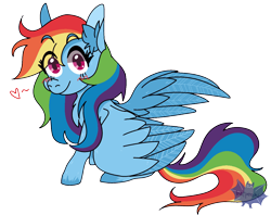 Size: 1200x949 | Tagged: safe, artist:batperchi, character:rainbow dash, species:pegasus, species:pony, heart, simple background, transparent background, watermark