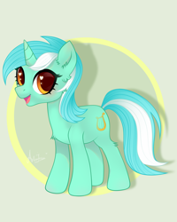 Size: 2800x3500   Tagged: safe, artist:77jessieponygames77, character:lyra heartstrings, species:pony, species:unicorn, circle background, female, heart eyes, mare, open mouth, simple background, smiling, solo, tan background, wingding eyes