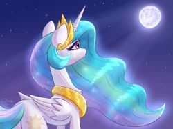 Size: 1890x1417   Tagged: safe, artist:dandy, character:princess celestia, species:alicorn, species:pony, newbie artist training grounds, g4, atg 2021, crown, crying, cutie mark, ethereal mane, female, jewelry, mare, mare in the moon, moon, moonlight, necklace, night, peytral, regalia, sad, solo, stars, wings